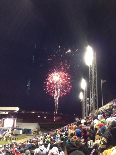 Post game fireworks.