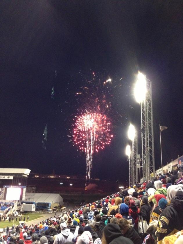 Post game fireworks.